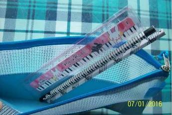 Estojo Varias Cores Material Escolar Notas Musica Estudante